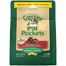 GREENIES PILL POCKETS Soft Dog Treats, Hickory Smoke, Capsule, 15.8 oz.