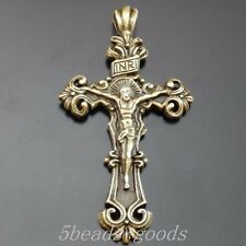 8pcs Antiqued Bronze Alloy Jesus Cross Jewelry Pendant Charms 60*34*4mm 50018