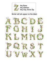30 Return Address Labels Alphabet Monogram Floral Buy 3 get 1 free (fl3)
