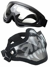 Airsoft Half Face Mask Goggles Set Steel Mesh Tactical Skull Outdoor Protection
