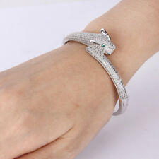 Long Tail Leopard Panther Clear Cubic Zirconia Bangle Cuff Silver Tone Fashion