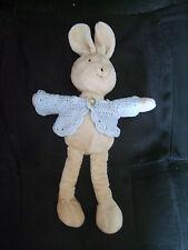 Doudou lapin JELLYCAT en velours avec gilet au crochet 25 cm TBE