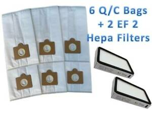 6 Pack Type Q/C HEPA Vacuum Bags for Kenmore Canister Vacuums + 2 EF-2 Filters