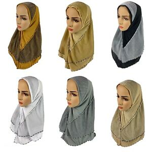 Slip On Ready To Wear Cotton Jersey Pullover Scarf Hijab Burka Stretchy Shawl