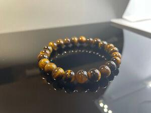 Natural Tigers Eye 8mm Bead Stretch Bracelet Chakra Healing UK