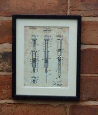 "USA Patent vintage INJECTION SYRINGE Mounted PRINT 10"" x 8"" 1947 Nurse blood"