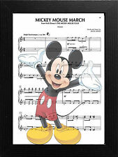 MUSIC SHEET/SCORE PAGE ART PRINT/POSTER ,WALT DISNEY MICKEY MOUSE MARCHING SONG