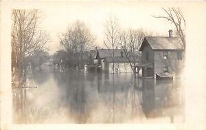 H70/ Massillon Ohio RPPC Postcard c1913 Flood Disaster Wes Oak Home 148