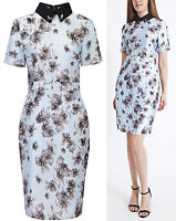 Miss Selfridge Beaded Collar Floral Dress RRP £45 Size 8 to 16