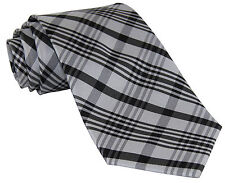 New Milani Men's Polyester Stripes Neck Tie Necktie Only White/Black/Silver Prom