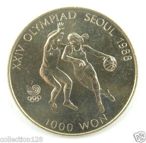 Korea-south 1000 Won, 1986, 1988 Olympics Basketball UNC