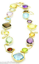 14K Yellow Gold Necklace With Multi-Color Gemstones By The Yard 48 Inches