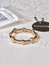 AUTHENTIC Pandora Rose Gold Pave Hearts Clear Cz Ring 60 Size 9