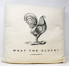 What The Cluck? Cockeral Cushion Natural Linen Funny Novelty Scatter Home Cover