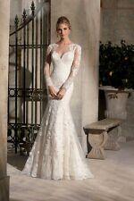2017 nuevo vestido para boda de tul de encaje y apliques ilusión, Reino Unido Tailor Made, todos los tamaños