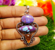 65ct Pendant Purple Turquoise & Baltic Amber Gemstones 925 Silver Plated Sz 2.5""