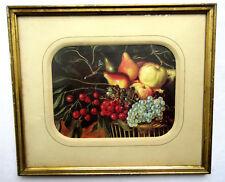 A VOIR, Gravure chromo: panier de fruits sous verre et Marie-Louise, cadre coré