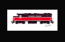 "Providence Worcester GP38-2 11""x17"" Matted Print Black Mat Andy Fletcher signed"