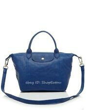 LONGCHAMP Le Pliage Cuir Leather Handbag DUCK BLUE Small