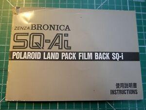 GENUINE ZENZA BRONICA INSTRU MANUAL FOR SQ-AI POLAROID LAND PACK FILM BACK SQ-I