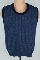 Vintage 1960's McGregor M Open Knit Blue Shetland Wool Blend Sleeveless Sweater