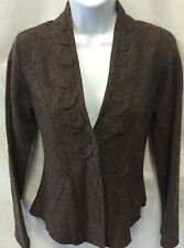CYNTHIA ROWLEY Boiled Brown Wool Leaf Appliqué Snap Front Jacket Career Size S