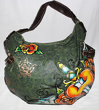 Red Marc Ecko Green with Orange Roses & Sword Thru Heart Faux Leather Hobo Bag