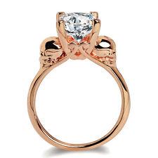 Fashion Skull Round White Zircon Rose Gold Filled Women Wedding Engagement Ring
