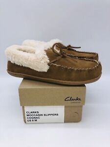 Clarks Women's Moccasin Slippers with Faux Shearling Chestnut Suede US 8M