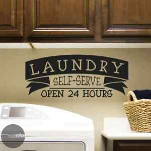 Laundry Self-Serve Open 24 Hours Vinyl Wall Decal Sticker