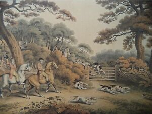 ANCIENNE GRAVURE CHASSE A COURRE VENERIE BREAKING COVER SAMUEL HOWITT ANTIQUE