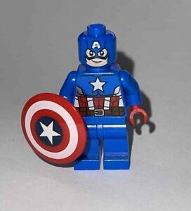 Lego Captain America Minifigure W/ Shield Royal Blue Color Suit
