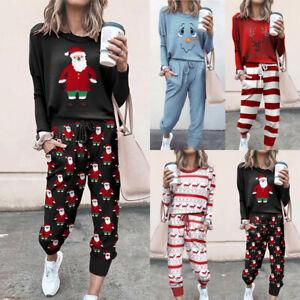 Womens Xmas Loungewear Pyjamas Ladies Christmas Tops Cropped Pants Nighty Suit