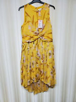 Ted Baker Pleated Midi Dress Cabana Ruched in Yellow Size 4 RRP £229 BNWT