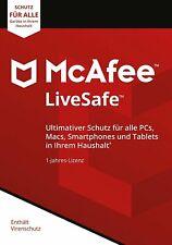 McAfee LiveSafe|unbegrenzte Geräte|immer aktuell für 1 Jahr|Product-Key Card