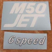 """Puch Jet Abzug Aufkleber Weiß """"M50Jet 6 speed"""" Fahrwerk & Rahmen Karosserieaufk"""