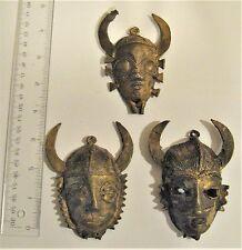 3 Africa, African, Ivory Coast, Senufo Lost Wax Bronze Brass Pendant Masks