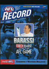 2000 AFL Football Record Essendon Bombers vs Western Bulldogs Jul 28-30 unmarked