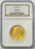 1914-P $10 Indian Gold Eagle NGC AU58 Better Date With Low Mintage 151,000 PQ++