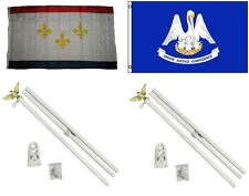 3x5 City of New Orleans & State of Louisiana Flag & 2 White Pole Kit Sets 3'x5'