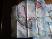 3 Walt Disney Productions Handkerchief Donald Mickey MOUSE No holes/ stains 1960