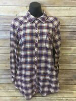 LOLE Flannel Shirt Size 10 Womens Purple Orange Plaid Long Sleeve Button Down