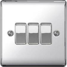 Polished / Mirror Chrome Triple Light Switch - 10amp 1 or 2 way