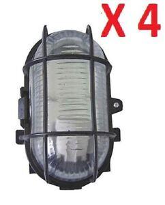 4 X Black Oval Bulkhead Light Outdoor Garden Security Lighting 60w