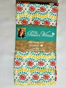 Pioneer Woman Flea Market Red Dinner Napkins 4-Pc Square Cotton Polyester Gift