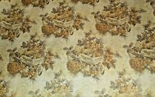 Vtg Wrapping Paper Gift Wrap Fall Autumn Harvest Antique Cart Floral 2 Yards