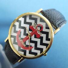 Unisex ANCHOR CHEVRON Faux Black Leather Quartz Retro Wrist Watch & Gift Box***