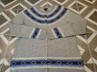 Talbots Lambs Wool Blend Nordic Fair Isle Cardigan Sweater Medium Button Gray M
