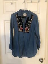 Holding Horses Anthropologie Embroidered Denim Chambray Shirt Tunic Blouse 8 M