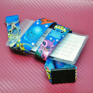 Disney Inspired Cartoon Stitch Lanyard Card Holder & Fitted Safety Clips New